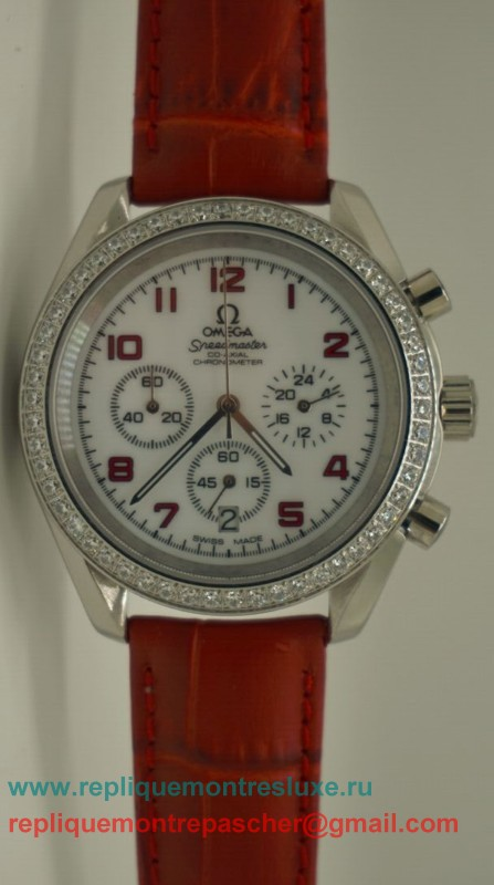 Omega Speedmaster Femme Working Chronograph Diamond Bezel OAL13
