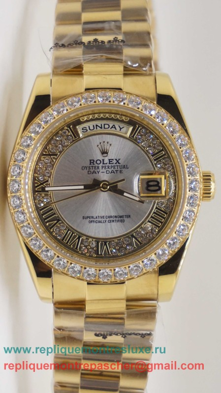 Rolex Day Date Automatique S/S 36MM Sapphire Diamonds Bezel RXM176