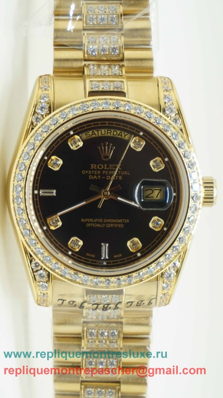 Rolex Day Date Automatique S/S 36MM Sapphire Diamonds Bezel RXM188
