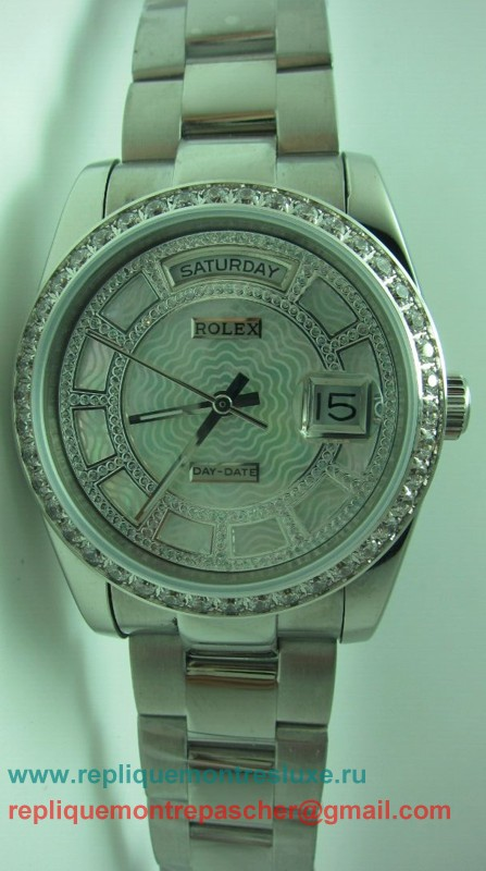 Rolex Day Date Automatique S/S 36MM Sapphire Diamonds Bezel RXM199