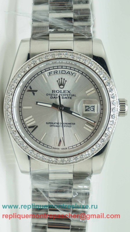 Rolex Day Date Automatique S/S 36MM Sapphire Diamonds Bezel RXM236