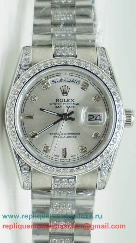 Rolex Day Date Automatique S/S 36MM Sapphire Diamonds Bezel RXM250