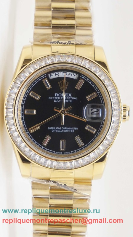 Rolex Day Date Automatique S/S 36MM Sapphire Diamonds Bezel RXM255