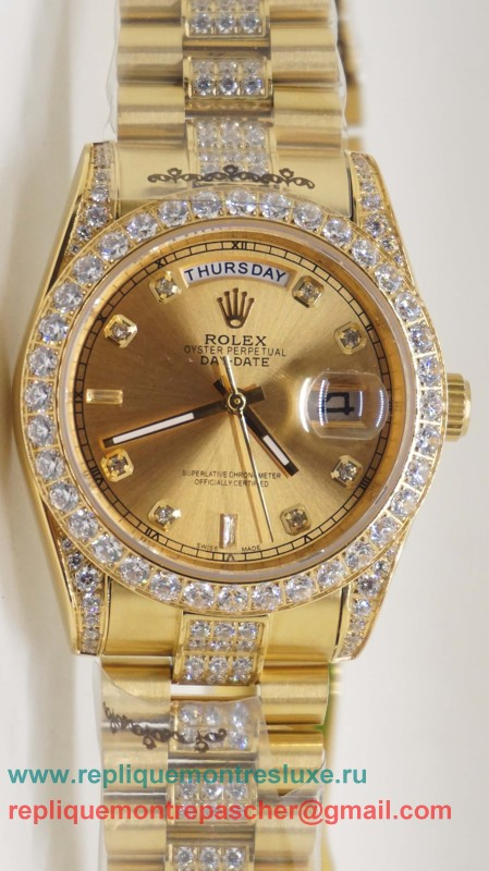 Rolex Day Date Automatique S/S 36MM Sapphire Diamonds Bezel RXM259