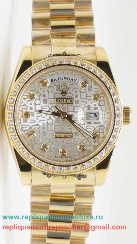 Rolex Day Date Automatique S/S 36MM Sapphire Diamonds Bezel RXM307