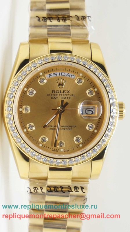 Rolex Day Date Automatique S/S 36MM Sapphire Diamonds Bezel RXM312