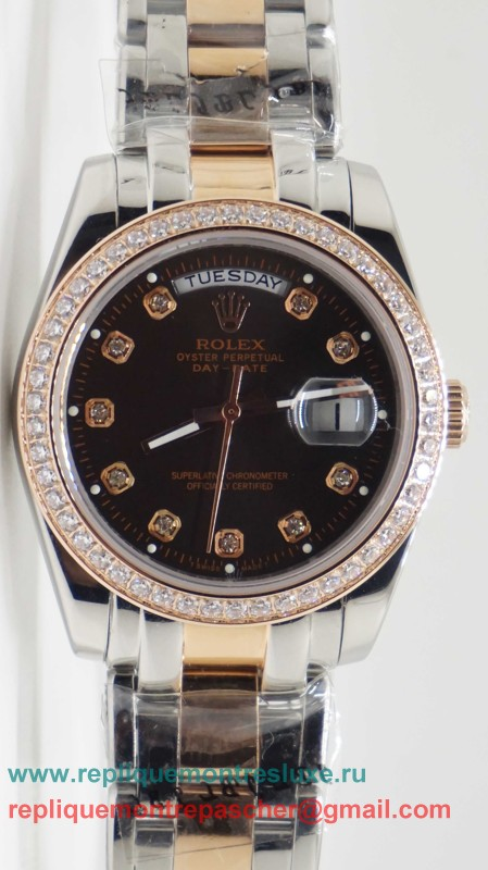 Rolex Day Date Automatique S/S 36MM Sapphire Diamonds Bezel RXM323