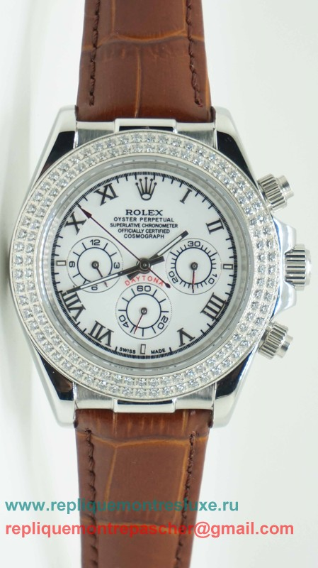 Rolex Daytona Automatique Cuir Diamonds Bezel RXM252